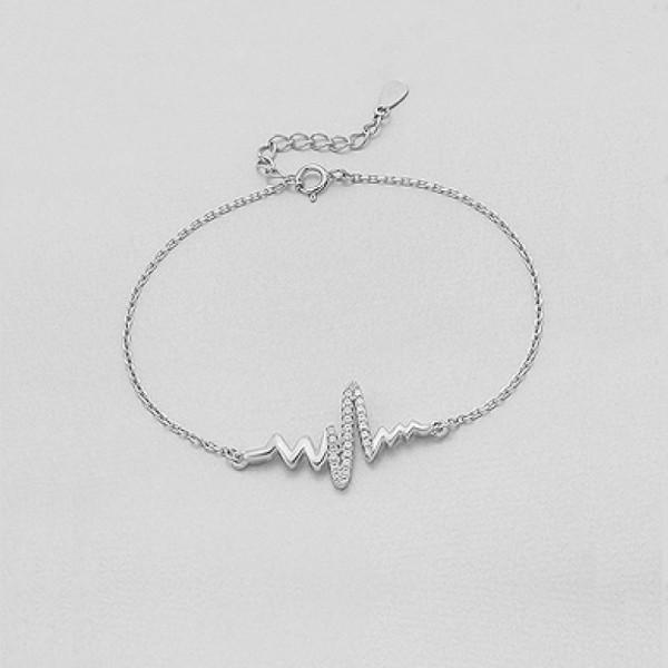 Srebrna zapestnica s simbolom srčnega utripa