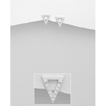 Srebrni uhani v obliki trikotnika s cirkoniji