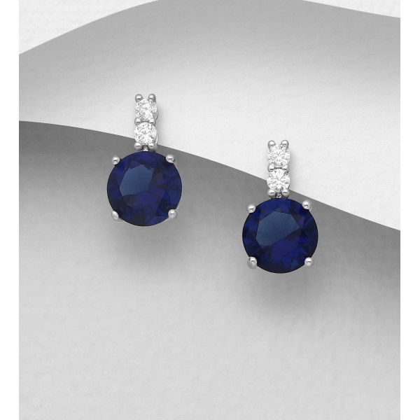 Srebrni uhani bučka z modrim cirkonijem