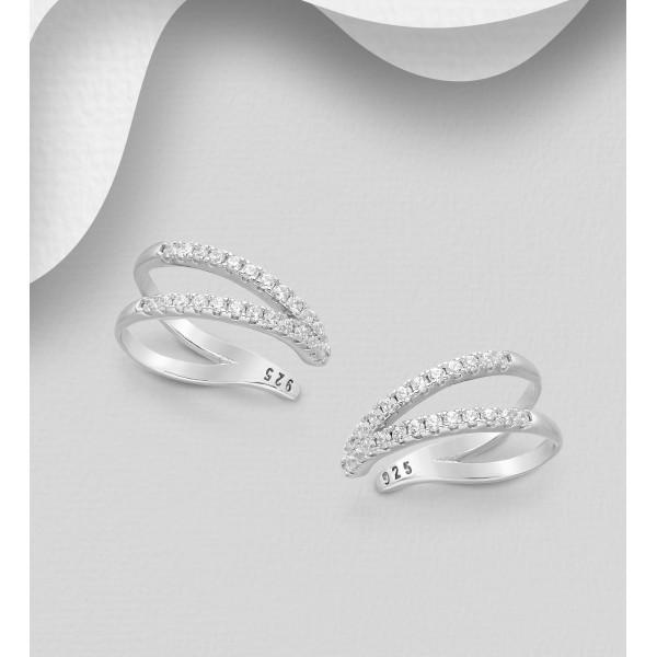 Manšetni srebrni uhani okrašeni s cirkoniji