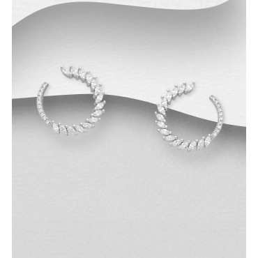 Okrogli srebrni uhani s cirkoniji