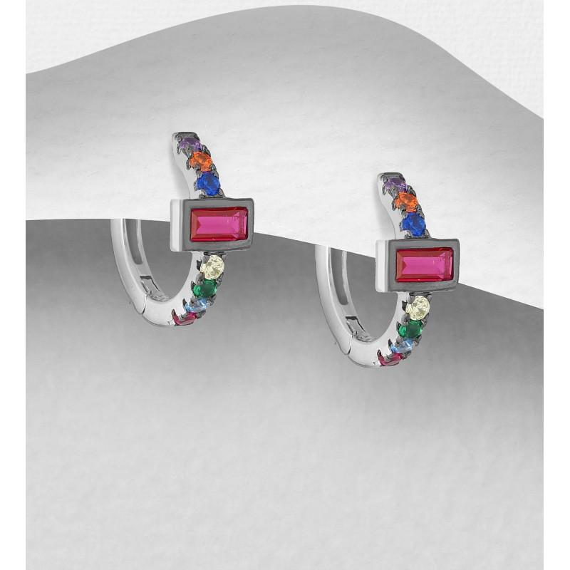 Srebrni uhani obroč z barvnimi cirkoniji