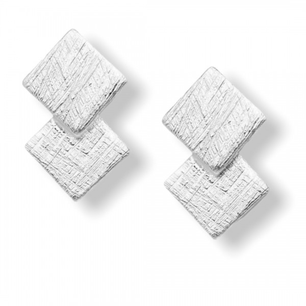 Srebrni uhani s kvadratki - mat