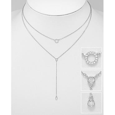 Srebrna ogrlica z obeski s cirkoniji