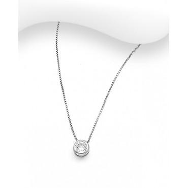 Srebrna ogrlica z okroglim obeskom s cirkonijem
