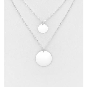 Srebrna ogrlica z dvema obeskoma v obliki okroglih ploščic