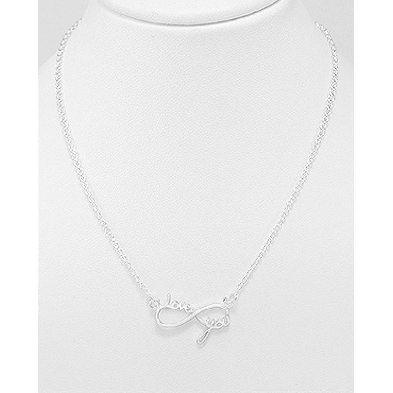 """Srebrna ogrlica s simbolom neskončnosti in napisom """"Love you"""""""