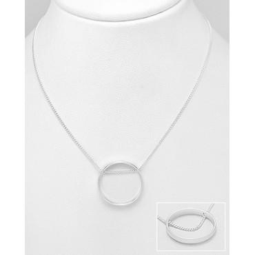 Srebrna ogrlica z okroglim obeskom