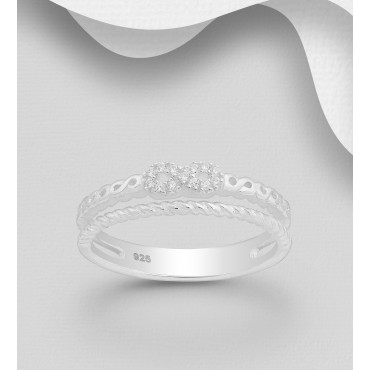 Srebrni prstan - neskončnost okrašen s cirkoniji